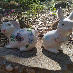 None Accents - Two Ceramic Bunny Rabbit figurines